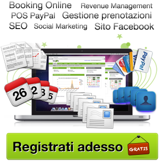 Booking Online, Revenue Management, Gestionale Prenotazioni, Software prenotazioni, SEO, Social Marketing, Pagamenti PayPal