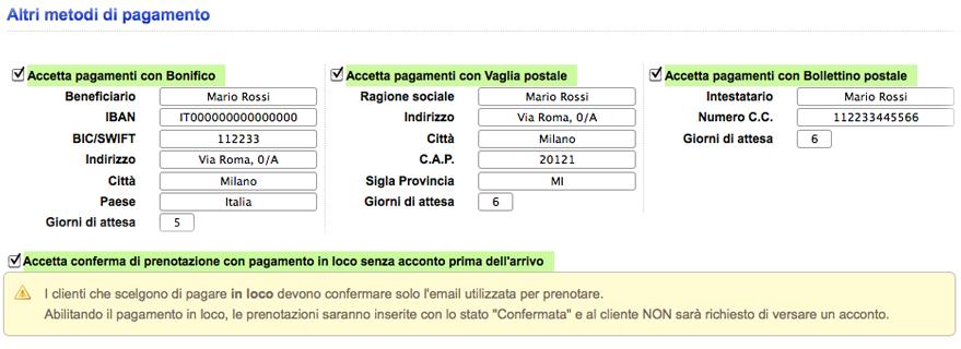 Gestione Prenotazioni con Bonifico Bancario, Vaglia, Bollettino Postale